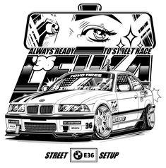 BMW Street race print design on Behance Ford Gt, Triumph Bonneville, Honda Cb, Honda Civic, Cool Car Drawings, Car Vector, Drifting Cars, Car Illustration, T Shirt Designs