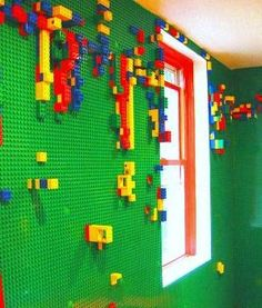 LEGO wall....my son would have loved this growing up!!! me too if it kept them off the floor....lol