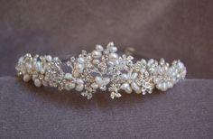 Novia perla hecho a mano & diadema de cristal tocados por lyndahats, $75.00