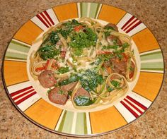 Chef JD's Comfort Cuisine: Fettuccine with Spicy Sausage, Spinach and Heirloo...