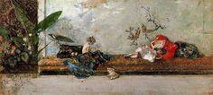 'el niños de pintor en el japonés habitación' de Mariano Fortuny (1838-1874, Spain)