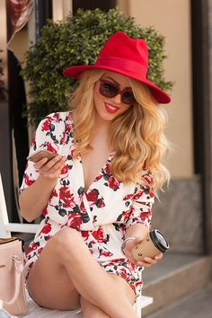 white floral romper, red hat @roressclothes closet ideas #women fashion outfit #clothing style apparel