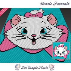 Marie Portrait crochet blanket pattern; c2c, cross stitch; graph; pdf download; no written counts or row-by-row instructions by TwoMagicPixels, $3.99 USD