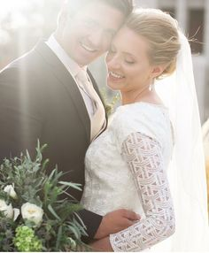 modest wedding dress with three quarter sleeves and a trumpet skirt from alta moda. -- (modest bridal gown) --