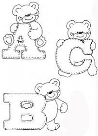 drawings-alphabet-teddy-bears-ornament-classroom-for-children- – alphaber and ted … - Stickerei Ideen Felt Patterns, Applique Patterns, Initial Canvas, Coloring Books, Coloring Pages, Alphabet Templates, Embroidery Alphabet, Personalized Wall Art, Kids Room Wall Art