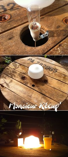 Decoration Branches, Garden Furniture, Diy Furniture, Diy Jardim, Wooden Cable Reel, Cable Spool Tables, Diy Luminaire, Deco Champetre, Wooden Spools