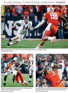 Jake Coker, Derrick Henry & Marlon Humphrey perform in the Alabama National Championship victory over Clemson 45 - 40  | from the Tuscaloosa Magazine special edition 2016 by the Tuscaloosa News #Alabama  #RollTide #Bama #BuiltByBama #RTR  #CrimsonTide #RammerJammer #NationalChampions