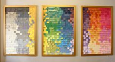 kara paslay designs: Spectrum Paint and Recycled Paint Chip Panels  Here's a great way to liven up a big blank wall.