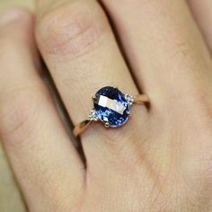 This is so beautiful!!! ♥ Oval Sapphire Solitaire Engagement Ring in 10k Yellow by LuxCrown