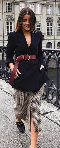 Like the idea of belted blazer over contrasting skirt