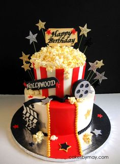 Movie Hollywood Theme Birthday Cake This is a real fun cake for a Movie/Hollywood theme party. All buttercream covered with fondant details... Movie Cakes, Movie Theme Cake, Movie Themes, Theme Cakes, Party Cakes, 13th Birthday Parties, 14 Birthday Cakes, 12th Birthday Party Ideas, 18th Birthday Party