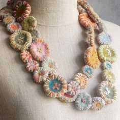 Sophie Digard ~ Giant Macaron Necklace ~ The French Needle Textile Jewelry, Fabric Jewelry, Jewelry Art, Jewellery, Brooches Handmade, Handmade Necklaces, Handcrafted Jewelry, Fabric Beads, Fabric Scraps