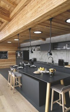 dark modern kitchen decoration idea