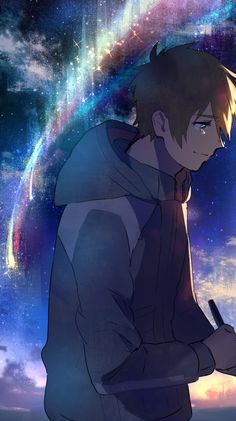 Wallpaper - Kimi no na wa - Taki~ Film Manga, Manga Art, Manga Anime, Anime Art, Anime Love, Me Me Me Anime, Kawaii Anime, Mitsuha And Taki, Kimi No Na Wa Wallpaper