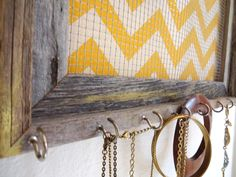 Jewelry Organizer Jewelry Holder Chevron Frame Lemon Yellow Distressed 7 silver hooks. $38.50, via Etsy.