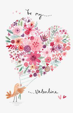 My Owl Barn: Valentine's Day Illustrations by Felicity French French Illustration, Cute Illustration, Illustration Inspiration, Valentines Illustration, Valentine Greeting Cards, Illustrations, Be My Valentine, Valentine Bouquet, Love Flowers