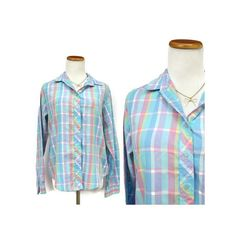 Rainbow Pastel Blouse // Plaid Button Up Shirt // 80's Pastel Top // 1980's Plaid Blouse // Kawaii Hippie Shirt // Size Medium