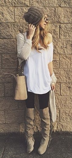 cozy for winter. Over the knee boots, leggings, white tee, beanie hat