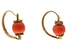 Georgian Coral Gold Earrings - The Antique Jewellery Company Coral Earrings, Coral Jewelry, Bead Earrings, Stone Earrings, Victorian Jewelry, Antique Jewelry, Vintage Jewelry, Key Jewelry, Jewellery