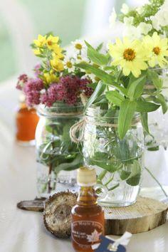 wood wedding diy | Wedding DIY centerpieces - wood rounds, mason jars, cut flowers, maple ...
