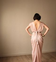 Pink Champagne Evening Dress Bridesmaid Dress by BLUSHFASHION. The back is grand. The front is ok a little to low cut but that can be altered.