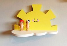 Beautiful handmade natural pine sun above a cloud shelf in yellow & white. Featu… Beautiful handmade natural pine sun above a cloud shelf in yellow & white. Features a hanger for fitting as a wall decoration. • shelf measures Pine Bedroom Furniture, Kids Furniture, Bedroom Decor, Wooden Baby Toys, Wood Toys, Wood Crafts, Diy And Crafts, Cloud Shelves, Wall Shelves