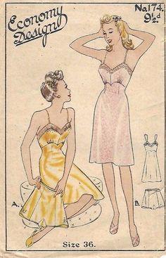 "Vintage 1940's Sewing Pattern Women's Pretty Slip & Knicker Set Rare B36"" WWII #EconomyDesign"