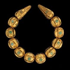 Necklace Tillya Tepe Tomb VI, first century A.D. Gold with granulation and turquoise Diam. of the beads 2.8 x 2.5 cm (1–1/8 x 1 in.) National Museum of Afghanistan, Kabul