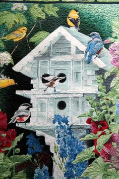 thread painting on panel by jillnjo Thread Painting, Thread Art, Fabric Painting, Fabric Art, Butterfly Quilt, Bird Quilt, Landscape Art Quilts, Animal Quilts, Quilted Wall Hangings