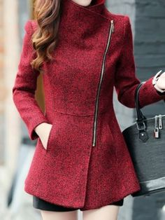Love this Jacket! Love the Zipper! Love the Color! Red Asymmetrical Zipper Tweed Coat Winter Fashion Visit our site for more Fashionable stuff! Tweed Coat, Wool Coat, Mode Inspiration, Mode Style, Look Fashion, Fashion Coat, Modern Fashion, Fashion Women, Women's Jackets