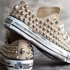 """diy studded converse- Im NOT going to """"diy""""...thats too tedious a project for my ADD. I would def BUY these tho!!!"""