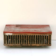 Chicken Crate Coffee Table- love the red top!