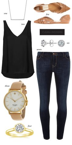 Clean, modern jeans t shirt look from The Things We Didnt Buy. Discover and shop the latest women fashion, celebrity, street style you love on https://www.zkkoo.com