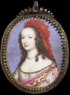 Portrait miniature of a woman wearing masque costume, probably a daughter of Elizabeth of Bohemia, watercolour on vellum, painted by Nathaniel Thach, Museum Number Women In History, Art History, Miniature Portraits, Miniature Paintings, Renaissance, Adele, Portrait Art, Painting Portraits, Art Nouveau