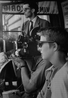 Jean-Luc Godard and Jean Seberg on-set of A bout de souffle (1960)