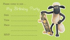Free Printable:Shaun The Sheep Birthday Party Invitation | Free Download Cute Printables Template