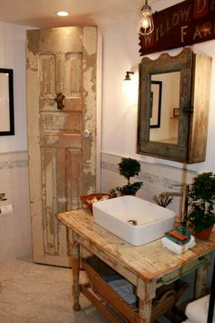 Old things repurposed in a charming bathroom