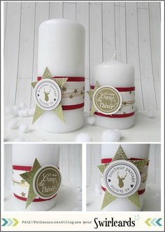 AVENT N°10: Des bougies pour Noël par Fati. Collection ORchidée de Swirlcards Christmas Candles, Christmas Decorations, Christmas And New Year, Christmas Holidays, Square Glass Vase, Illustration Noel, Ornament Box, Theme Noel, Candy Cards