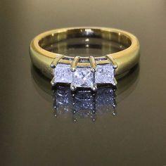 Zales 14k Yellow gold Natural Princess cut Diamond 3 stone ring band .50ctw by crystalanchor on Etsy