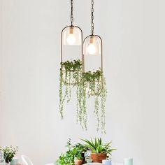 Hanging plant vase pendant light in brass hanging light fixtures, hanging. Diy Hanging, Hanging Planters, Hanging Lights, Hanging Gardens, Hanging Lamps, Luminaire Design, Lamp Design, Decoration Plante, Plant Lighting