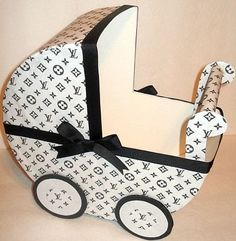 Black and White Louis Vuitton Inspired Baby Carriage Table Centerpiece Gift Box