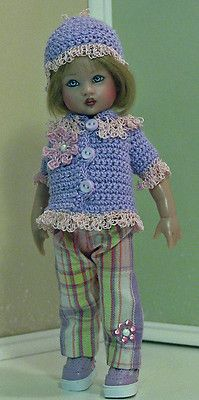 Crochet doll sweater and hat.