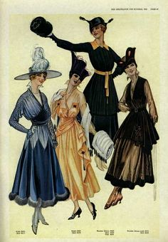From the hats to the muffs to the dresses themselves, there's so much to admire about these lovely looks from 1916. #Edwardian #fashion #1910s #vintage #dress