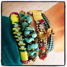 Love the bracelet combo. Love the little skull bead all the way on the right.