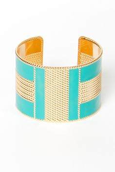 $21Turquoise and Gold Enamel Cuff