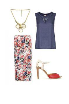 LARGO MIDI: falda Vero Moda, top Only, zapatos Again&Again y collar Azura