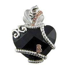 Valentine's Day Promotion - Bellarri Fashionista Collection Sterling & 18K Diamond & Faceted Onyx Gemstone Enhancer Pendant!