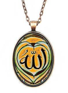 Allah Orange Green Brown Huge 30x40mm Antique Copper Pendant * Click image to review more details.