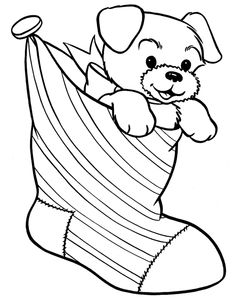 Christmas Coloring Pages Two Stocking Smile