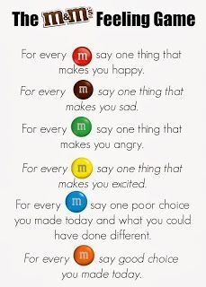 M&Ms Feelings Activity. Great for group counseling or a lesson on feelings. Keep positive! Can substitute Skittles as well (allergy-free) Group Counseling, Counseling Activities, School Counseling, Leadership Activities, Motivational Activities, Elementary School Counselor, Elementary Schools, Feelings Games, Feelings Activities